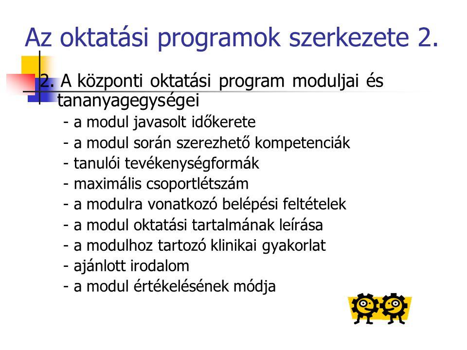 Az oktatási programok szerkezete 2. 2. A központi oktatási program moduljai és tananyagegységei - a modul javasolt időkerete - a modul során szerezhet