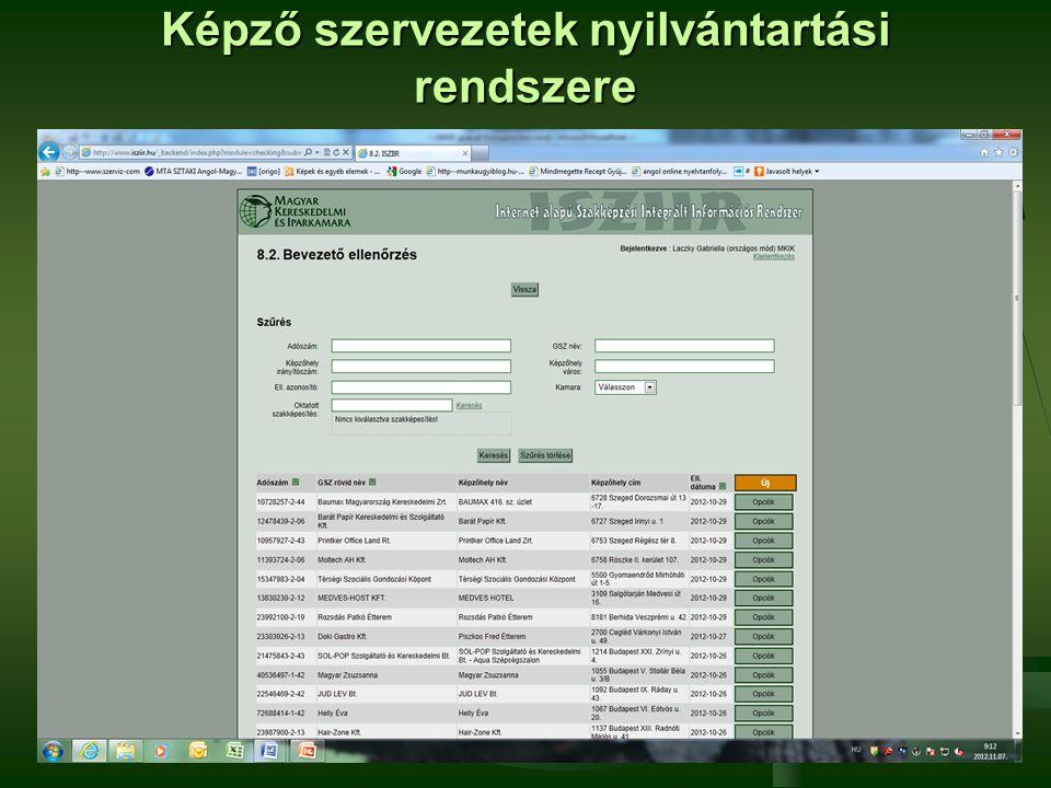Képző szervezetek nyilvántartási rendszere