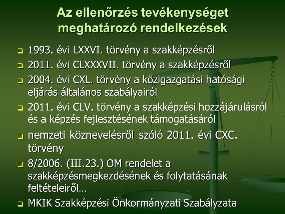 Az ellenőrzés tevékenységet meghatározó rendelkezések  1993. évi LXXVI. törvény a szakképzésről  2011. évi CLXXXVII. törvény a szakképzésről  2004.