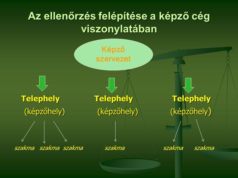 Az ellenőrzés felépítése a képző cég viszonylatában Telephely Telephely Telephely Telephely Telephely Telephely (képzőhely) (képzőhely) (képzőhely ) (