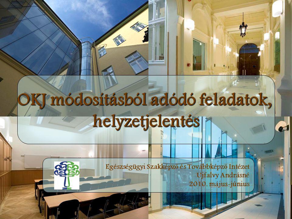 OKJ módosításból adódó feladatok, helyzetjelentés Egészségügyi Szakképz ő és Továbbképz ő Intézet Ujfalvy Andrásné 2010. május-június