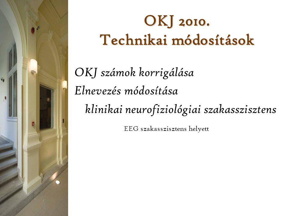 OKJ 2010. Technikai módosítások OKJ számok korrigálása Elnevezés módosítása klinikai neurofiziológiai szakasszisztens EEG szakasszisztens helyett