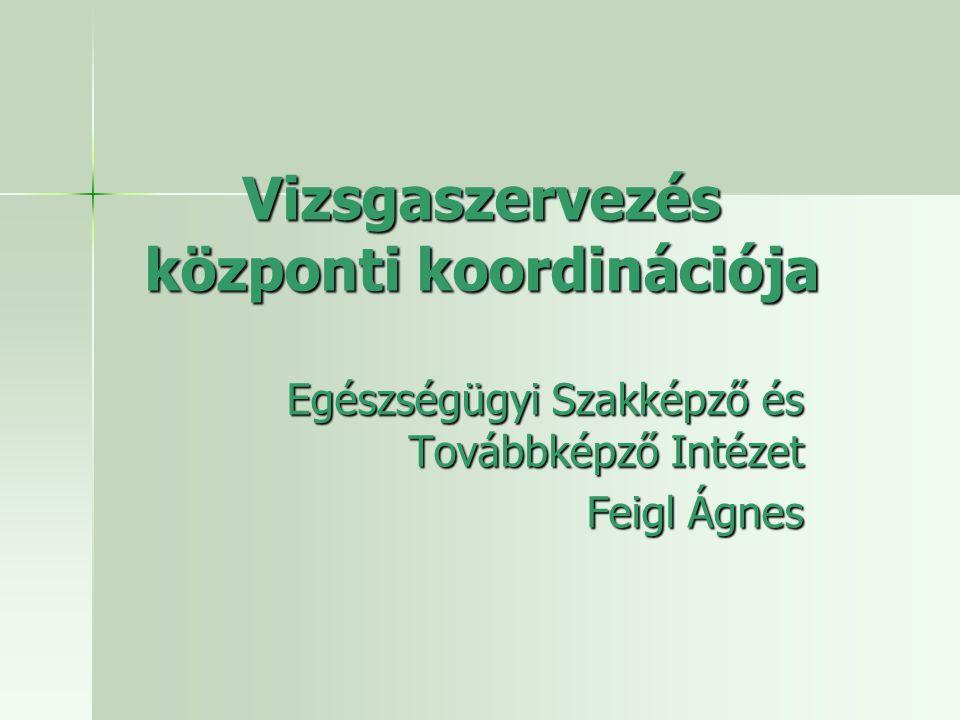 Vizsgaszervezés központi koordinációja Egészségügyi Szakképző és Továbbképző Intézet Feigl Ágnes