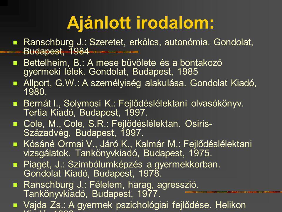 Kötelező irodalom: Atkinson R.L., Atkinson, R.C., Smith, E.E., Bem, D.J.: Pszichológia. 3. fejezet Osiris-Századvég, Budapest, 1994 Mérei F., Binét Á.