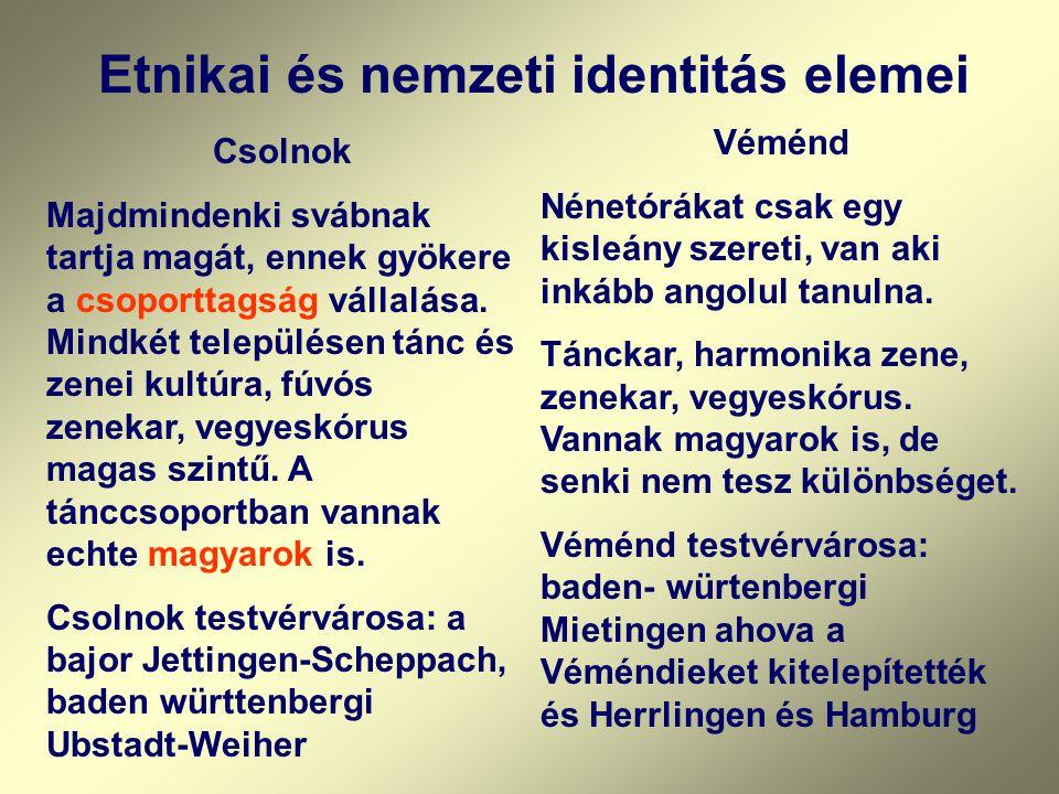 Etnikai és nemzeti identitás elemei Csolnok Majdmindenki svábnak tartja magát, ennek gyökere a csoporttagság vállalása. Mindkét településen tánc és ze
