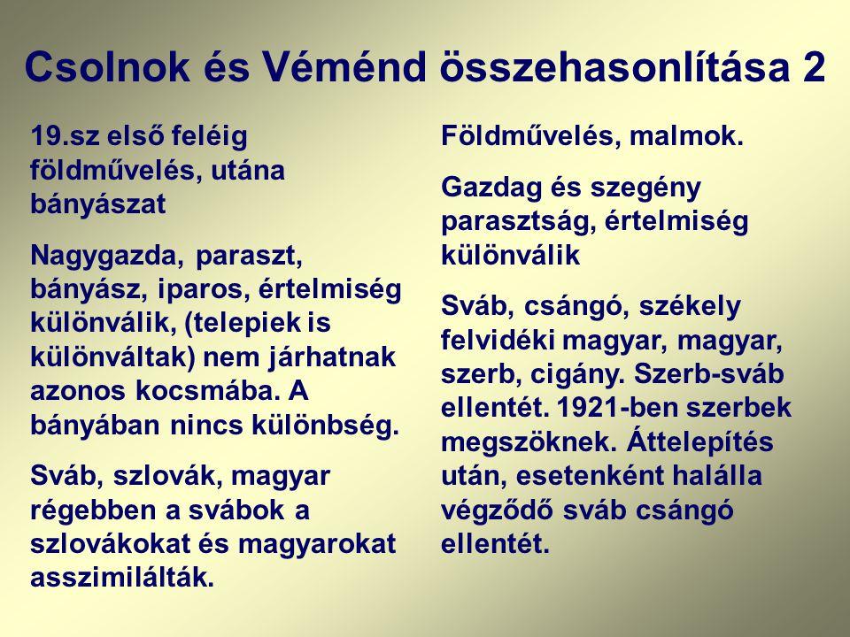 Csolnok és Véménd összehasonlítása 3 Mindkét falu lakossága 70-75 %-ban Volksbund tag volt.