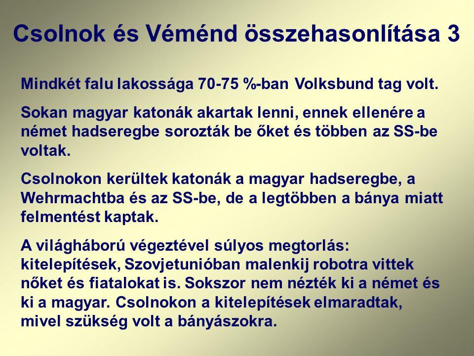 Csolnok és Véménd összehasonlítása 3 Mindkét falu lakossága 70-75 %-ban Volksbund tag volt. Sokan magyar katonák akartak lenni, ennek ellenére a német