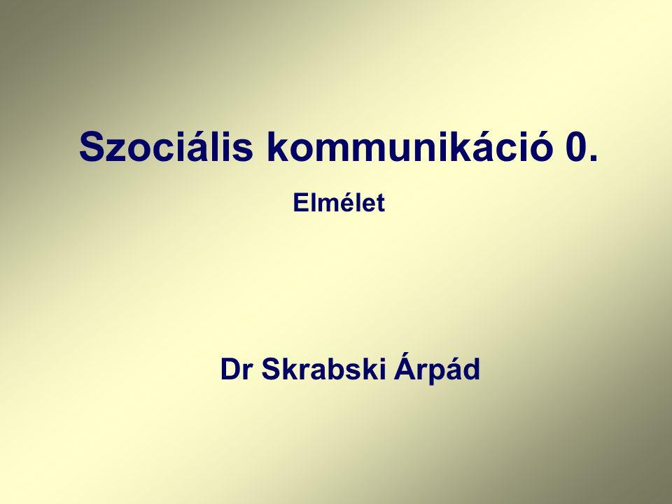 Szociális kommunikáció 0. Elmélet Dr Skrabski Árpád