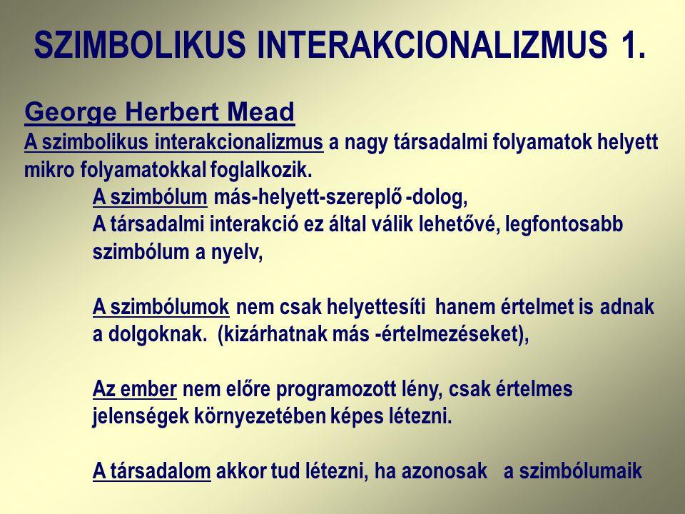 George Herbert Mead A szimbolikus interakcionalizmus a nagy társadalmi folyamatok helyett mikro folyamatokkal foglalkozik. A szimbóIum más-helyett-sze