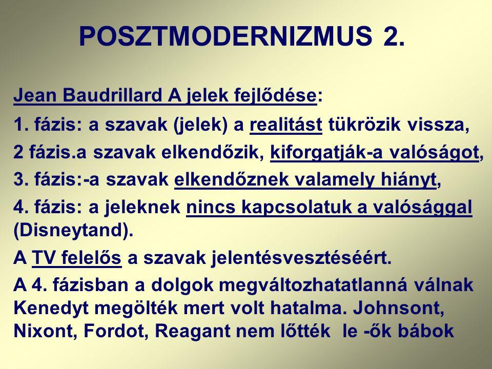 Jean Baudrillard A jelek fejlődése: 1. fázis: a szavak (jelek) a realitást tükrözik vissza, 2 fázis.a szavak elkendőzik, kiforgatják-a valóságot, 3. f