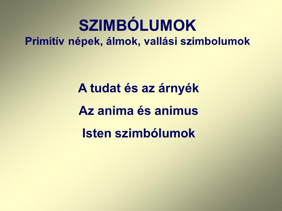 SZIMBÓLUMOK Primitív népek, álmok, vallási szimbolumok A tudat és az árnyék Az anima és animus Isten szimbólumok