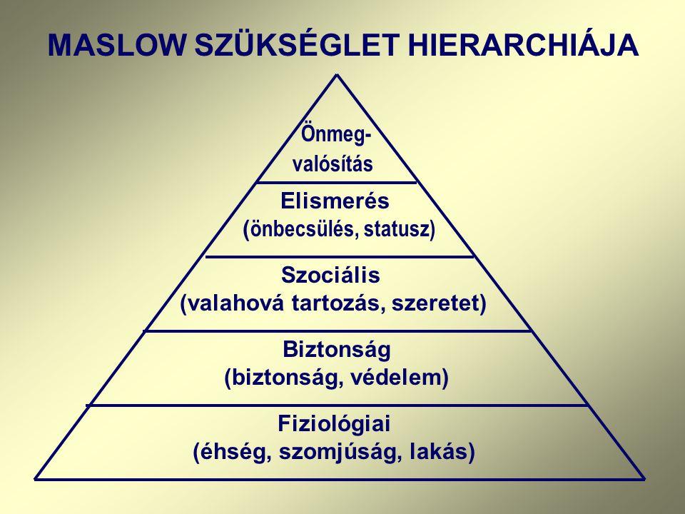MASLOW SZÜKSÉGLET HIERARCHIÁJA Önmeg- valósítás Elismerés ( önbecsülés, statusz) Szociális (valahová tartozás, szeretet) Biztonság (biztonság, védelem