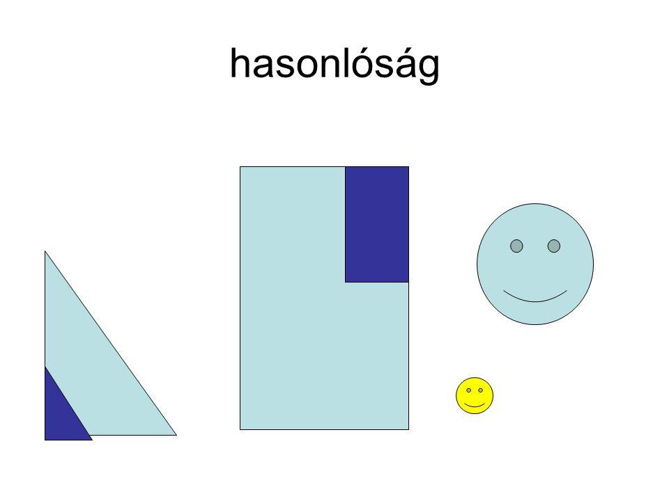 Tengelyes tükrözés Tükrözzünk egy háromszöget –Egyik oldalára, –Egyik szögfelezőjére –Egyik magasságvonalára.