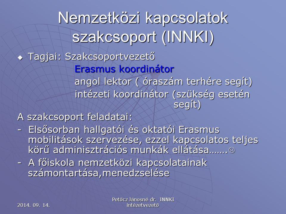 Nemzetközi kapcsolatok szakcsoport (INNKI)  Tagjai: Szakcsoportvezető Erasmus koordinátor angol lektor ( óraszám terhére segít) intézeti koordinátor (szükség esetén segít) intézeti koordinátor (szükség esetén segít) A szakcsoport feladatai: - Elsősorban hallgatói és oktatói Erasmus mobilitások szervezése, ezzel kapcsolatos teljes körű adminisztrációs munkák ellátása…….