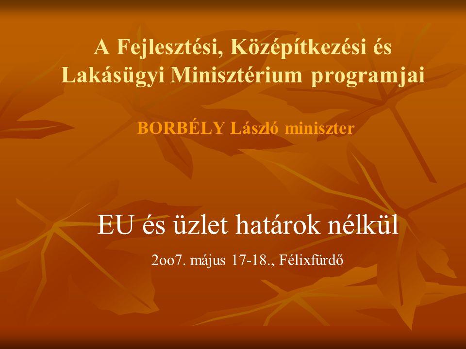 A Fejlesztési, Középítkezési és Lakásügyi Minisztérium programjai BORBÉLY László miniszter EU és üzlet határok nélkül 2oo7.