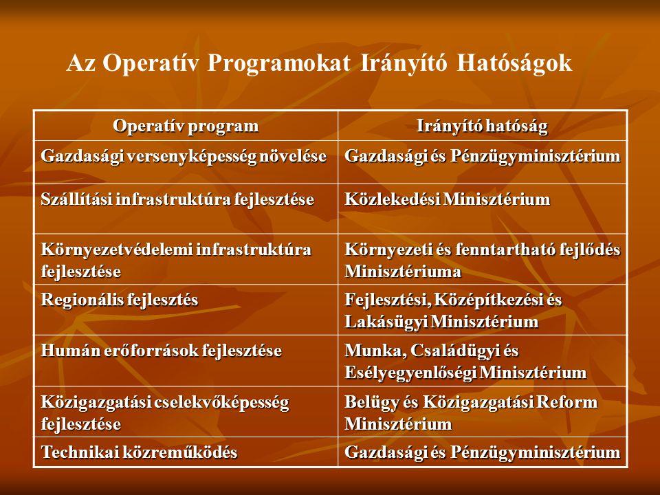 Az Operatív Programokat Irányító Hatóságok Operatív program Irányító hatóság Gazdasági versenyképesség növelése Gazdasági és Pénzügyminisztérium Szállítási infrastruktúra fejlesztése Közlekedési Minisztérium Környezetvédelemi infrastruktúra fejlesztése Környezeti és fenntartható fejlődés Minisztériuma Regionális fejlesztés Fejlesztési, Középítkezési és Lakásügyi Minisztérium Humán erőforrások fejlesztése Munka, Családügyi és Esélyegyenlőségi Minisztérium Közigazgatási cselekvőképesség fejlesztése Belügy és Közigazgatási Reform Minisztérium Technikai közreműködés Gazdasági és Pénzügyminisztérium