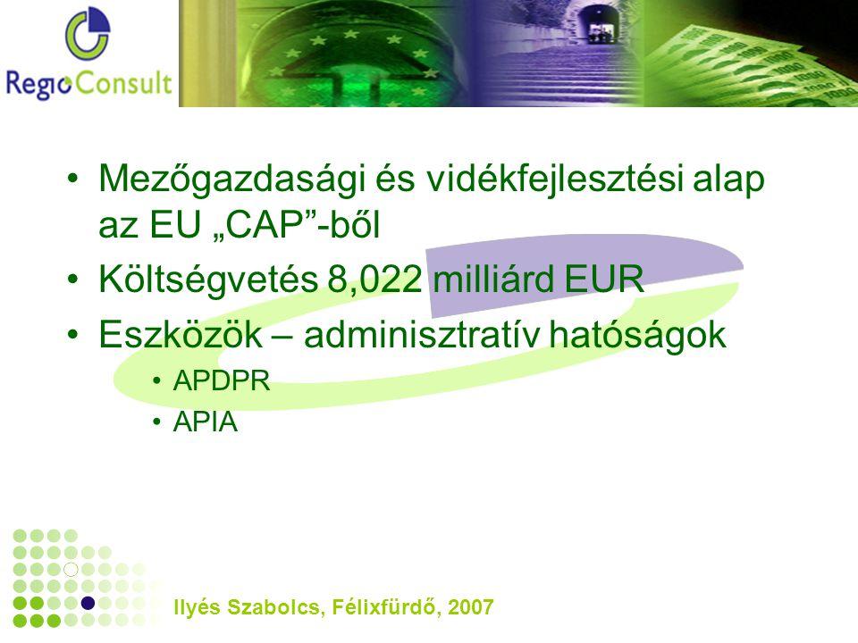 """Ilyés Szabolcs, Félixfürdő, 2007 Mezőgazdasági és vidékfejlesztési alap az EU """"CAP -ből Költségvetés 8,022 milliárd EUR Eszközök – adminisztratív hatóságok APDPR APIA"""