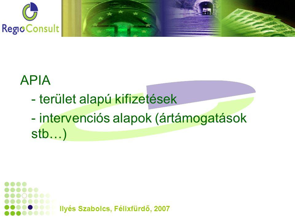 Ilyés Szabolcs, Félixfürdő, 2007 APIA - terület alapú kifizetések - intervenciós alapok (ártámogatások stb…)