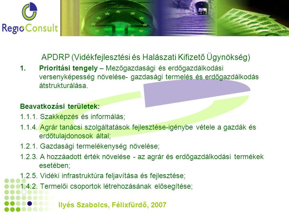 Ilyés Szabolcs, Félixfürdő, 2007 APDRP (Vidékfejlesztési és Halászati Kifizető Ügynökség) 1.Prioritási tengely – Mezőgazdasági és erdőgazdálkodási versenyképesség növelése- gazdasági termelés és erdőgazdálkodás átstrukturálása.