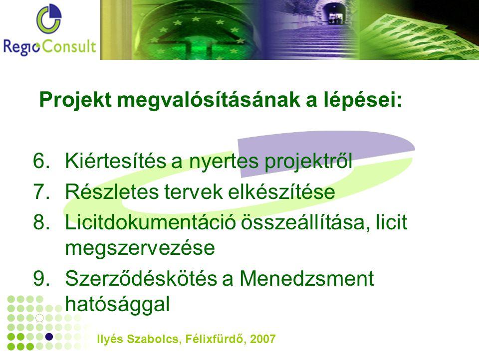 Ilyés Szabolcs, Félixfürdő, 2007 Projekt megvalósításának a lépései: 6.Kiértesítés a nyertes projektről 7.Részletes tervek elkészítése 8.Licitdokumentáció összeállítása, licit megszervezése 9.Szerződéskötés a Menedzsment hatósággal
