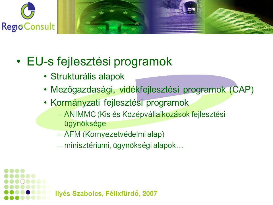 Ilyés Szabolcs, Félixfürdő, 2007 EU-s fejlesztési programok Strukturális alapok Mezőgazdasági, vidékfejlesztési programok (CAP) Kormányzati fejlesztési programok –ANIMMC (Kis és Középvállalkozások fejlesztési ügynöksége –AFM (Környezetvédelmi alap) –minisztériumi, ügynökségi alapok…