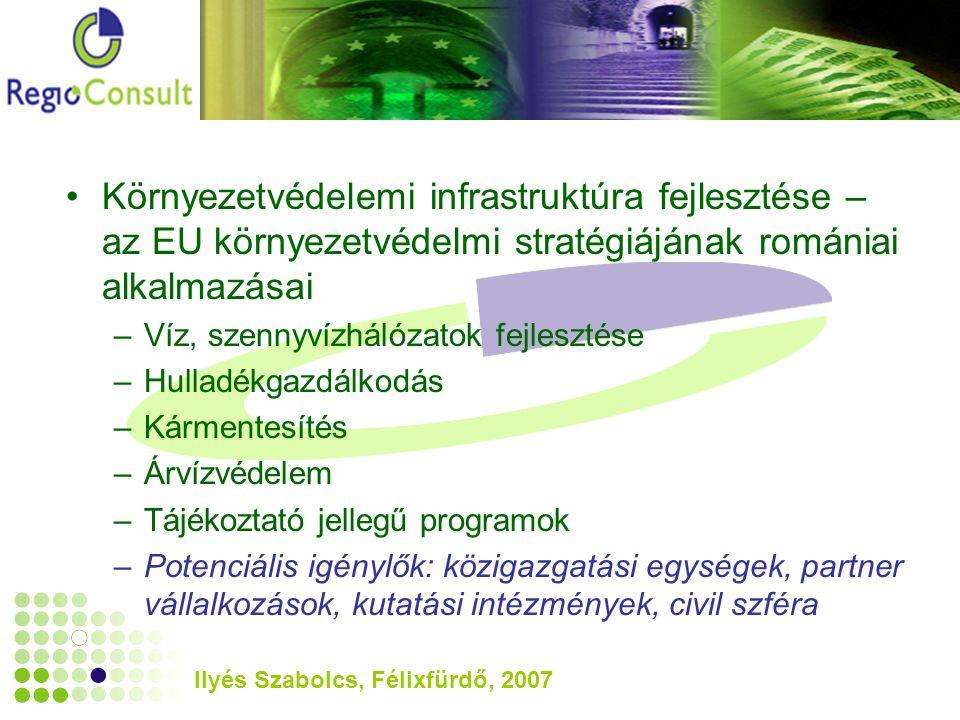 Ilyés Szabolcs, Félixfürdő, 2007 Környezetvédelemi infrastruktúra fejlesztése – az EU környezetvédelmi stratégiájának romániai alkalmazásai –Víz, szennyvízhálózatok fejlesztése –Hulladékgazdálkodás –Kármentesítés –Árvízvédelem –Tájékoztató jellegű programok –Potenciális igénylők: közigazgatási egységek, partner vállalkozások, kutatási intézmények, civil szféra
