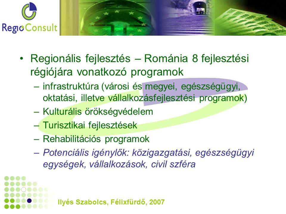 Ilyés Szabolcs, Félixfürdő, 2007 Regionális fejlesztés – Románia 8 fejlesztési régiójára vonatkozó programok –infrastruktúra (városi és megyei, egészségügyi, oktatási, illetve vállalkozásfejlesztési programok) –Kulturális örökségvédelem –Turisztikai fejlesztések –Rehabilitációs programok –Potenciális igénylők: közigazgatási, egészségügyi egységek, vállalkozások, civil szféra