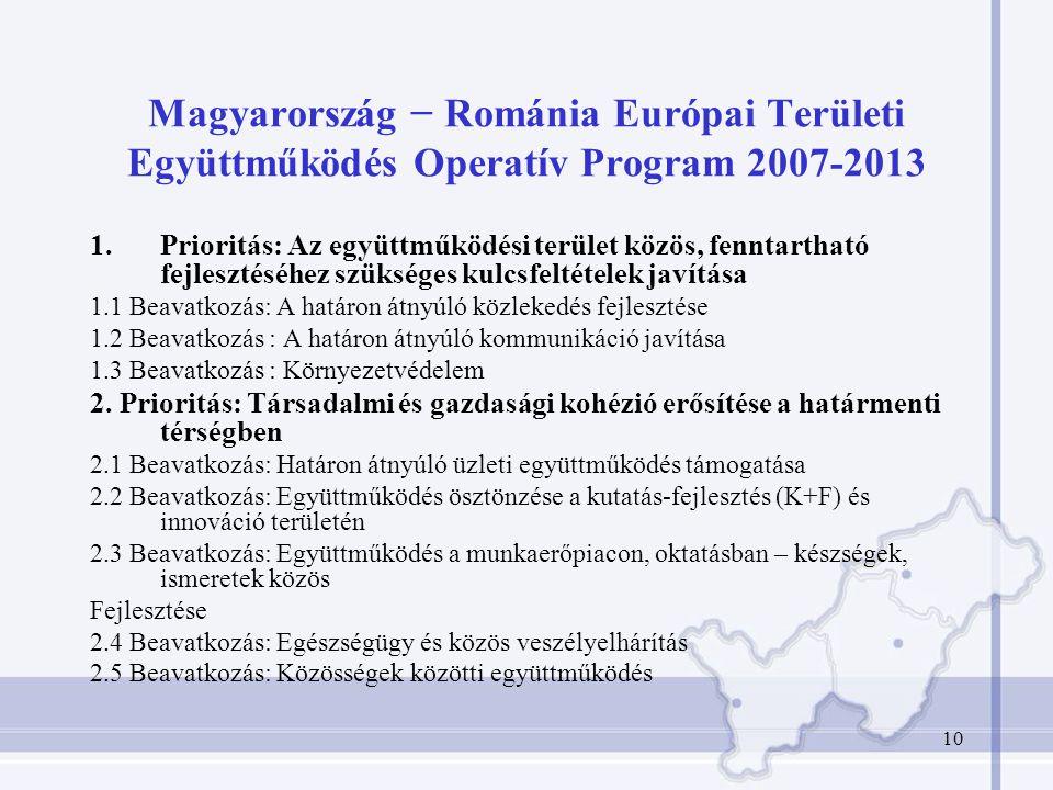 10 Magyarország − Románia Európai Területi Együttműködés Operatív Program 2007-2013 1.Prioritás: Az együttműködési terület közös, fenntartható fejlesztéséhez szükséges kulcsfeltételek javítása 1.1 Beavatkozás: A határon átnyúló közlekedés fejlesztése 1.2 Beavatkozás : A határon átnyúló kommunikáció javítása 1.3 Beavatkozás : Környezetvédelem 2.