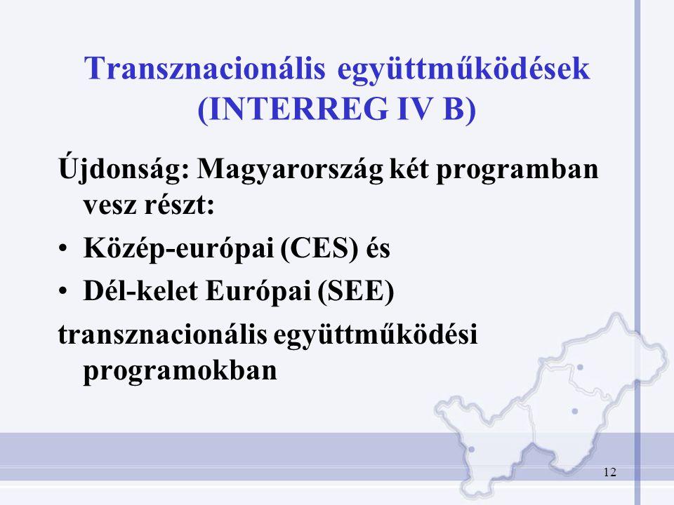 12 Transznacionális együttműködések (INTERREG IV B) Újdonság: Magyarország két programban vesz részt: Közép-európai (CES) és Dél-kelet Európai (SEE) transznacionális együttműködési programokban