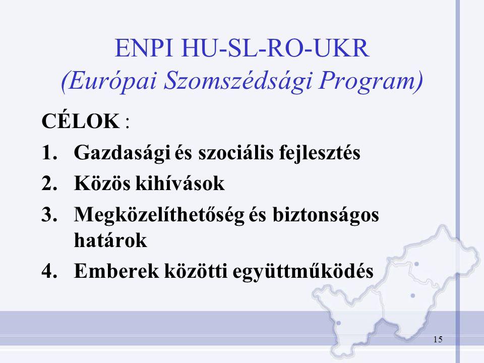 15 ENPI HU-SL-RO-UKR (Európai Szomszédsági Program) CÉLOK : 1.Gazdasági és szociális fejlesztés 2.Közös kihívások 3.Megközelíthetőség és biztonságos határok 4.Emberek közötti együttműködés