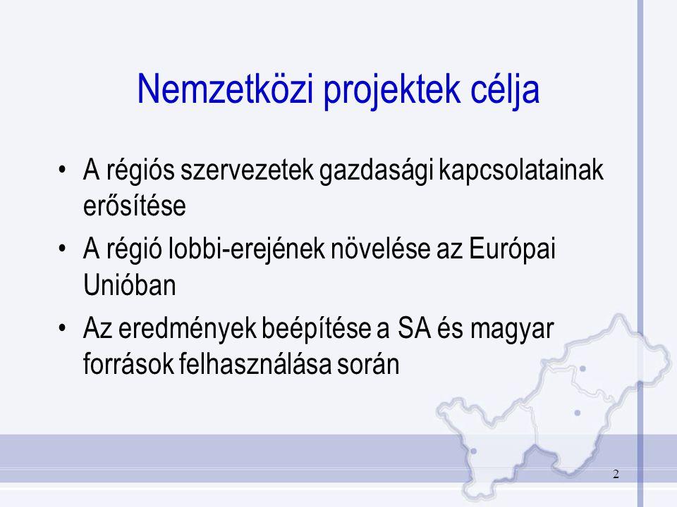 2 Nemzetközi projektek célja A régiós szervezetek gazdasági kapcsolatainak erősítése A régió lobbi-erejének növelése az Európai Unióban Az eredmények beépítése a SA és magyar források felhasználása során