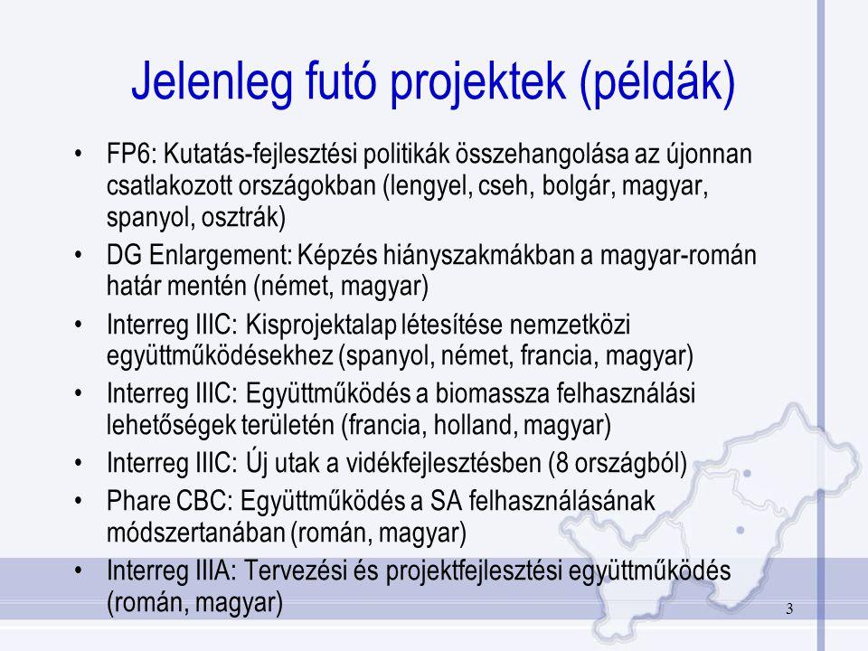 3 Jelenleg futó projektek (példák) FP6: Kutatás-fejlesztési politikák összehangolása az újonnan csatlakozott országokban (lengyel, cseh, bolgár, magyar, spanyol, osztrák) DG Enlargement: Képzés hiányszakmákban a magyar-román határ mentén (német, magyar) Interreg IIIC: Kisprojektalap létesítése nemzetközi együttműködésekhez (spanyol, német, francia, magyar) Interreg IIIC: Együttműködés a biomassza felhasználási lehetőségek területén (francia, holland, magyar) Interreg IIIC: Új utak a vidékfejlesztésben (8 országból) Phare CBC: Együttműködés a SA felhasználásának módszertanában (román, magyar) Interreg IIIA: Tervezési és projektfejlesztési együttműködés (román, magyar)