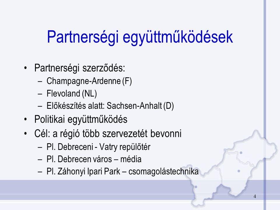 4 Partnerségi együttműködések Partnerségi szerződés: –Champagne-Ardenne (F) –Flevoland (NL) –Előkészítés alatt: Sachsen-Anhalt (D) Politikai együttműködés Cél: a régió több szervezetét bevonni –Pl.