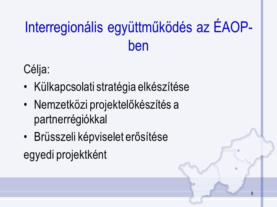 8 Interregionális együttműködés az ÉAOP- ben Célja: Külkapcsolati stratégia elkészítése Nemzetközi projektelőkészítés a partnerrégiókkal Brüsszeli képviselet erősítése egyedi projektként