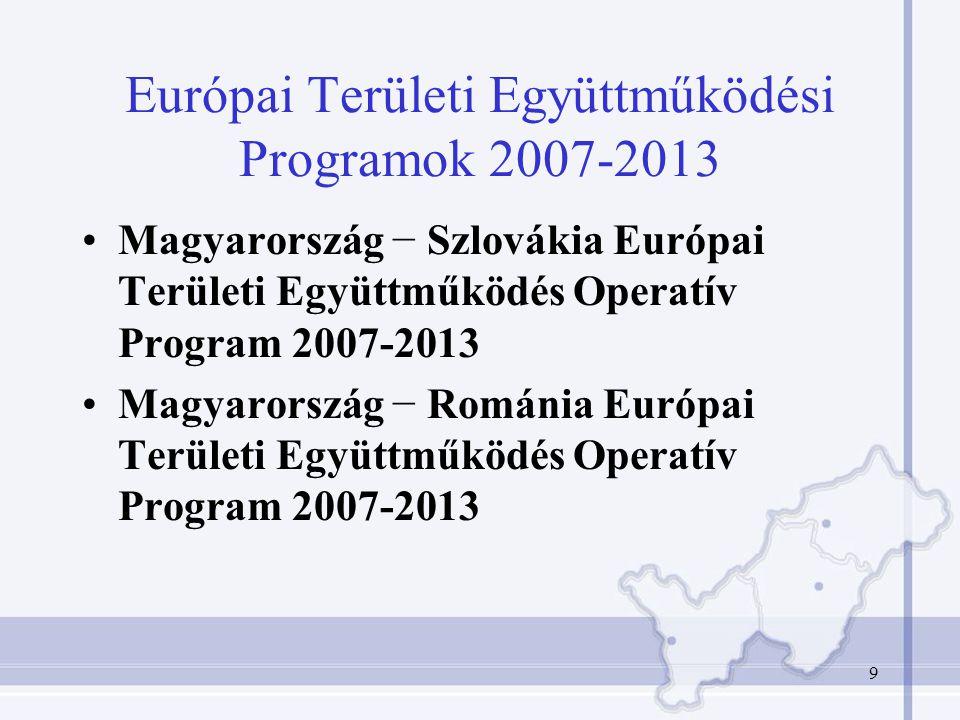 9 Európai Területi Együttműködési Programok 2007-2013 Magyarország − Szlovákia Európai Területi Együttműködés Operatív Program 2007-2013 Magyarország − Románia Európai Területi Együttműködés Operatív Program 2007-2013