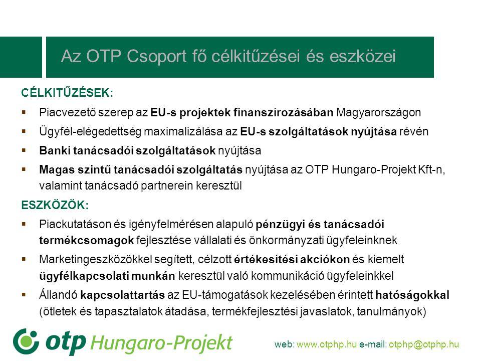 web: www.otphp.hu e-mail: otphp@otphp.hu CÉLKITŰZÉSEK:  Piacvezető szerep az EU-s projektek finanszírozásában Magyarországon  Ügyfél-elégedettség ma
