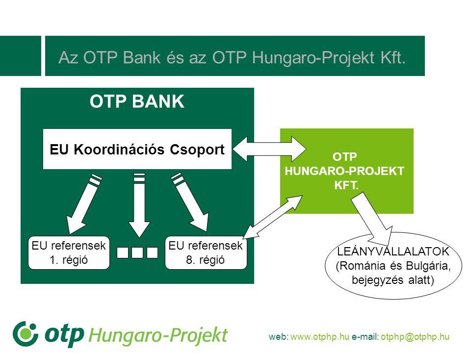 web: www.otphp.hu e-mail: otphp@otphp.hu LEÁNYVÁLLALATOK (Románia és Bulgária, bejegyzés alatt) Az OTP Bank és az OTP Hungaro-Projekt Kft. OTP BANK EU