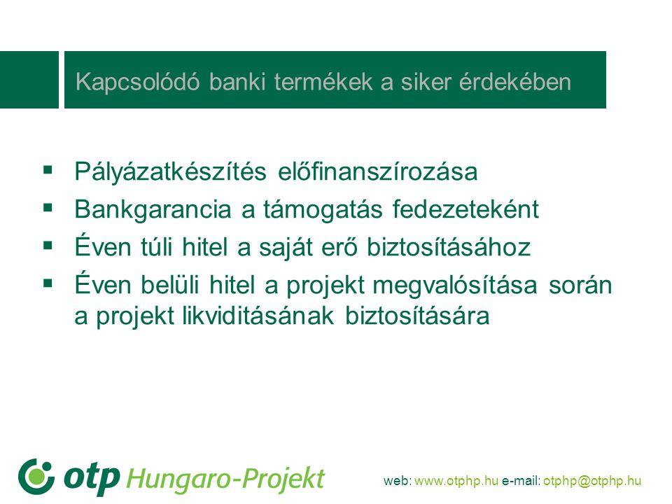 web: www.otphp.hu e-mail: otphp@otphp.hu OTP Bankcsoporti együttműködés  Komplex finanszírozási és tanácsadói termékek kialakítása  Bankcsoporti értékesítési kampányok megtervezése, megvalósítása és utánkövetése  A kampányok keretében bankcsoporti tagok (Hungaro-Projekt, Merkantil stb.) termékeinek keresztértékesítése  Kedvezmények az OTP Hungaro-Projekt Kft.