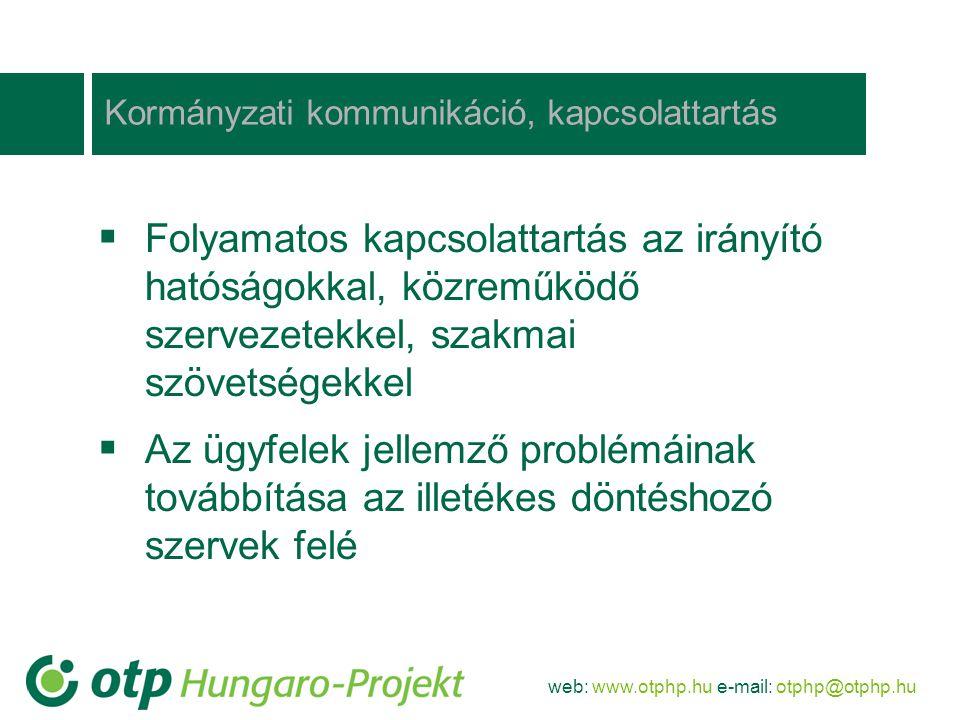 web: www.otphp.hu e-mail: otphp@otphp.hu Amire kiemelten figyelni kell a siker érdekében  Projektek megalapozottsága (megvalósíthatósági tanulmány, költség-haszon-elemzés)  Megnövekedett saját erő biztosítása  Nem támogatható tevékenységek és el nem számolható költségek megfelelő betervezése  Megfelelő pénzügyi garanciák a projekt-megvalósítás idejére és a fenntartási időszakra  A projektek pénzügyi likviditásának biztosítása a projekt-megvalósítás folyamán  Megfelelő szakmai kompetencia a megvalósítás során (projektmenedzsment felelősségbiztosítással)