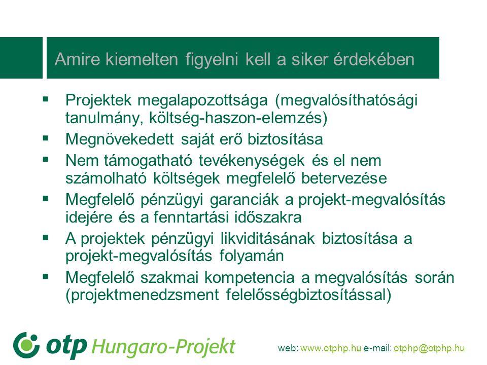 web: www.otphp.hu e-mail: otphp@otphp.hu Amire kiemelten figyelni kell a siker érdekében  Projektek megalapozottsága (megvalósíthatósági tanulmány, k
