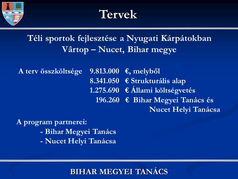 Vizipark létrehozása az Észak-Nyugati Régióban Tăşnad, Beltiug és Margitta helységekben A terv összköltsége 2.802.375 €, melyből 1.772.701,5 € Phare támogatás 590.900,5 € Nemzeti Alap 438.773 € önrész A program partnerei: - Szatmár Megyei Tanács - Bihar Megyei Tanács - Margitta Helyi Tanácsa - Beltiug Helyi Tanácsa - Tăşnad Helyi Tanácsa BIHAR MEGYEI TANÁCS Tervek