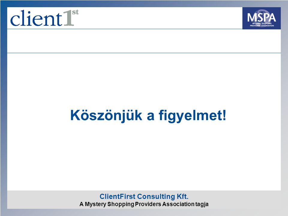 ClientFirst Consulting Kft. A Mystery Shopping Providers Association tagja Köszönjük a figyelmet!