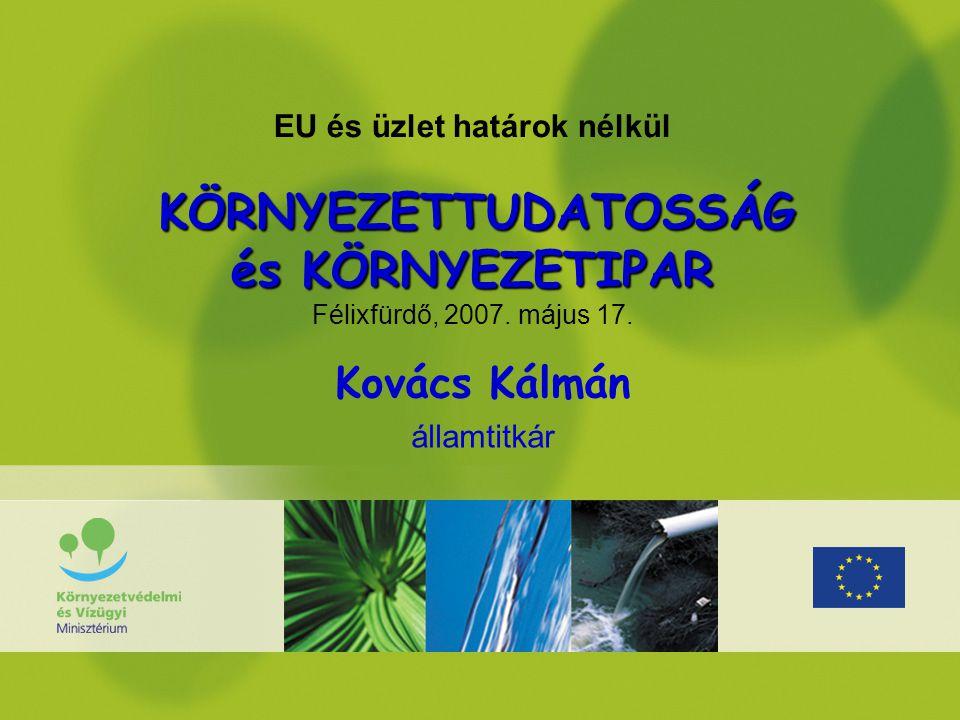 KÖRNYEZETTUDATOSSÁG és KÖRNYEZETIPAR EU és üzlet határok nélkül KÖRNYEZETTUDATOSSÁG és KÖRNYEZETIPAR Félixfürdő, 2007.