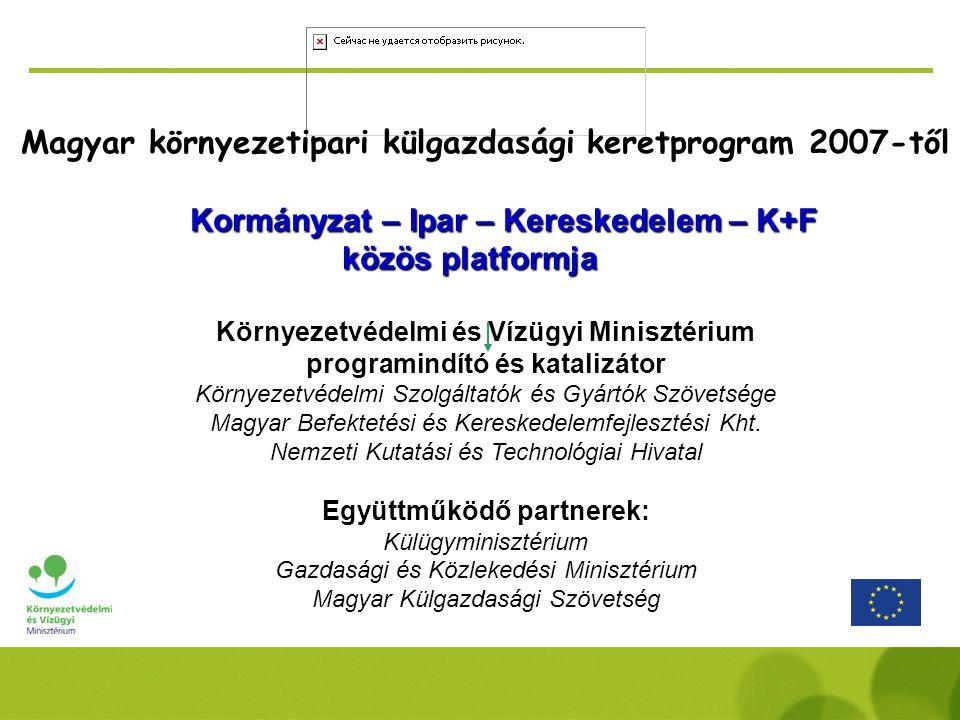 Magyar környezetipari külgazdasági keretprogram 2007-től Kormányzat – Ipar – Kereskedelem – K+F közös platformja Környezetvédelmi és Vízügyi Minisztérium programindító és katalizátor Környezetvédelmi Szolgáltatók és Gyártók Szövetsége Magyar Befektetési és Kereskedelemfejlesztési Kht.