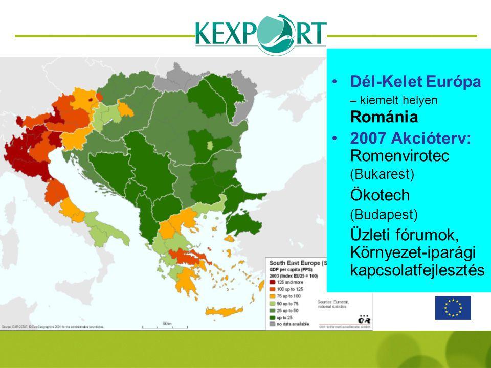 Dél-Kelet Európa – kiemelt helyen Románia 2007 Akcióterv: Romenvirotec (Bukarest) Ökotech (Budapest) Üzleti fórumok, Környezet-iparági kapcsolatfejlesztés