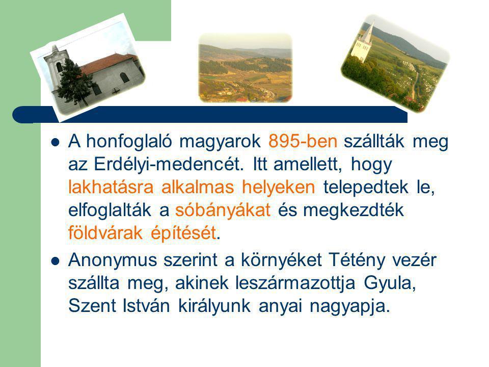 A honfoglaló magyarok 895-ben szállták meg az Erdélyi-medencét. Itt amellett, hogy lakhatásra alkalmas helyeken telepedtek le, elfoglalták a sóbányáka