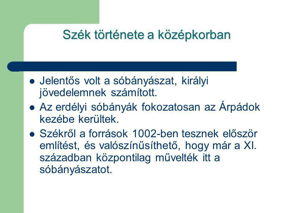 Szék története a középkorban Jelentős volt a sóbányászat, királyi jövedelemnek számított. Az erdélyi sóbányák fokozatosan az Árpádok kezébe kerültek.