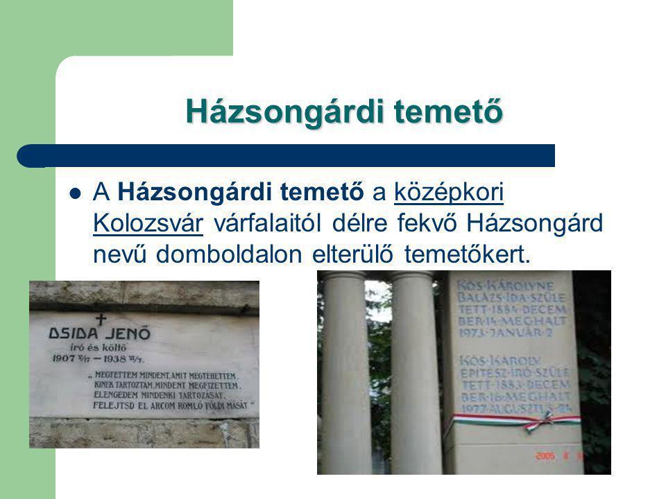 Házsongárdi temető A Házsongárdi temető a középkori Kolozsvár várfalaitól délre fekvő Házsongárd nevű domboldalon elterülő temetőkert.középkori Kolozs