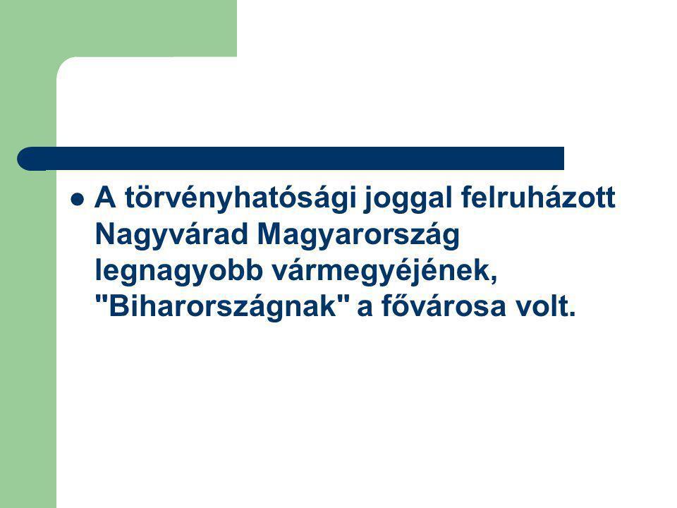 A törvényhatósági joggal felruházott Nagyvárad Magyarország legnagyobb vármegyéjének,