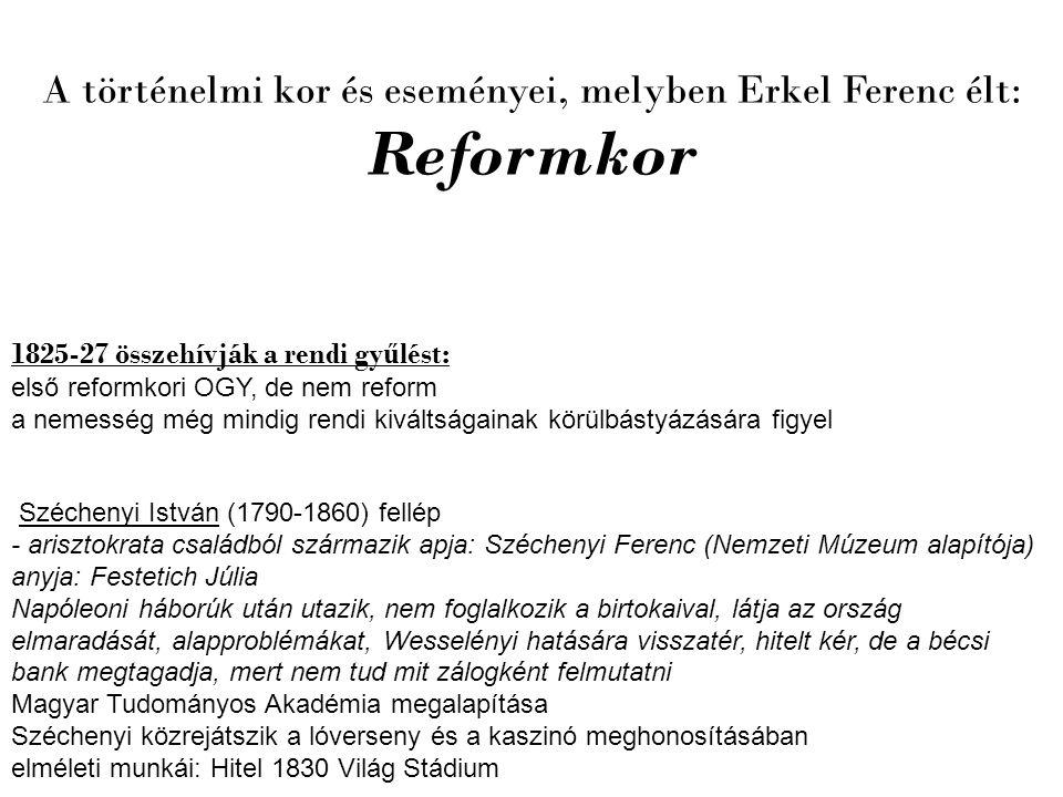 1825-27 összehívják a rendi gy ű lést: első reformkori OGY, de nem reform a nemesség még mindig rendi kiváltságainak körülbástyázására figyel Szécheny